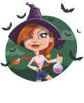 Beautiful Witch Girl Cartoon Vector Character - With Halloween Background with Bats