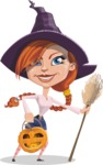 Beautiful Witch Girl Cartoon Vector Character - With Halloween Lantern