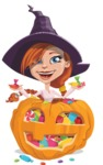 Beautiful Witch Girl Cartoon Vector Character - With Huge Pumpkin full of Treats