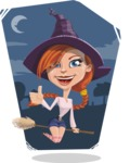 Beautiful Witch Girl Cartoon Vector Character - With Moon Background
