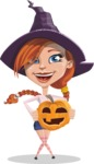 Beautiful Witch Girl Cartoon Vector Character - With Pumpkin