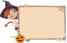 Beautiful Witch Girl Cartoon Vector Character - With Whiteboard on Halloween Theme