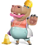 Female Hippo Cartoon Character - as a Construction worker