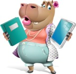 Female Hippo Cartoon Character - Choosing between Book and Tablet