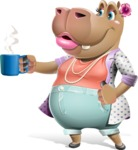 Female Hippo Cartoon Character - Drinking Coffee