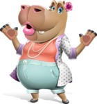 Female Hippo Cartoon Character - Feeling Shocked