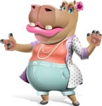 Female Hippo Cartoon Character - Finger pointing with angry face