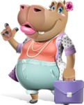Female Hippo Cartoon Character - Holding a briefcase