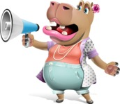 Female Hippo Cartoon Character - Holding a Loudspeaker