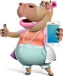 Female Hippo Cartoon Character - Holding a smartphone