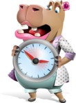 Female Hippo Cartoon Character - Holding clock