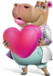 Female Hippo Cartoon Character - Holding heart