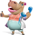 Female Hippo Cartoon Character - Holding phone with thumbs up