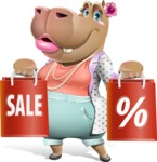 Female Hippo Cartoon Character - Holding shopping bags