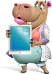Female Hippo Cartoon Character - Holding tablet
