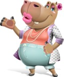 Female Hippo Cartoon Character - Making a Duckface for a selfie