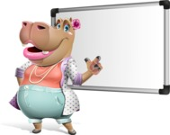 Female Hippo Cartoon Character - Making a Presentation on a Blank white board