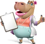 Female Hippo Cartoon Character - Making thumbs up with notepad