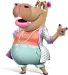 Female Hippo Cartoon Character - Pointing with left hand