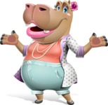 Female Hippo Cartoon Character - Presenting with both hands