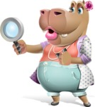 Female Hippo Cartoon Character - Searching with magnifying glass
