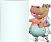 Female Hippo Cartoon Character - Showing Big Blank banner