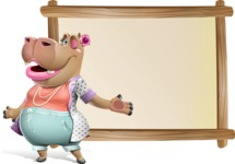 Female Hippo Cartoon Character - Showing on Big whiteboard