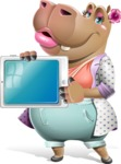 Female Hippo Cartoon Character - Showing tablet