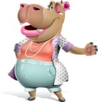 Female Hippo Cartoon Character - Showing with left hand