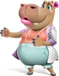 Female Hippo Cartoon Character - Showing with right hand