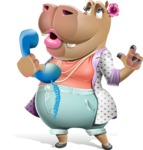 Female Hippo Cartoon Character - Talking on phone