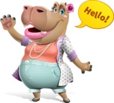 Female Hippo Cartoon Character - Waving for Hello with a hand