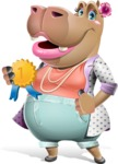 Female Hippo Cartoon Character - Winning prize