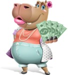 Female Hippo Cartoon Character - With a Lot of Money