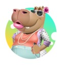 Female Hippo Cartoon Character - With Abstract Background