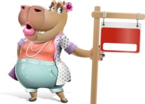 Female Hippo Cartoon Character - with Blank Real estate sign