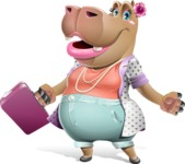 Female Hippo Cartoon Character - with Briefcase