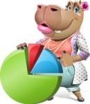 Female Hippo Cartoon Character - with Business graph