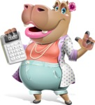 Female Hippo Cartoon Character - with Calculator