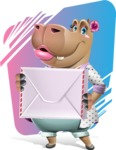 Female Hippo Cartoon Character - With Colorful Background
