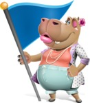 Female Hippo Cartoon Character - with Flag