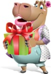 Female Hippo Cartoon Character - with Gift box