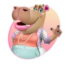 Female Hippo Cartoon Character - With Modern Background