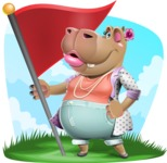 Female Hippo Cartoon Character - With Nature Background