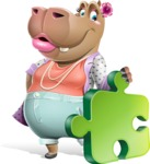 Female Hippo Cartoon Character - with Puzzle