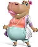 Female Hippo Cartoon Character - with Sad face