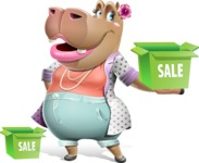 Female Hippo Cartoon Character - with Sale boxes