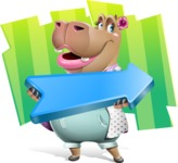 Female Hippo Cartoon Character - With Shape Background