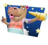 Female Hippo Cartoon Character - With Sky Background