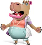 Female Hippo Cartoon Character - with Stunned face